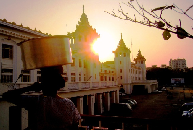 The sun sets on another workingn day at Yangon Central Railway station