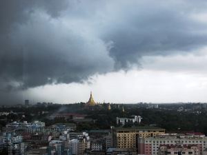 storm clouds over Yangon
