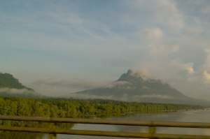 Driving towards the Sanctuary, across the Santubong bridge