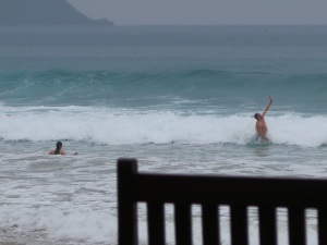 New beach behaviours - selfie snapping in the waves!