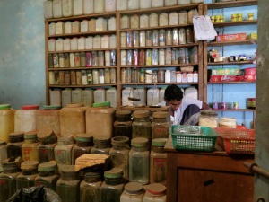 An apothecary stall at the market