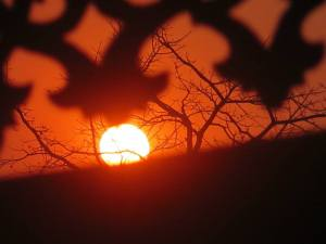 Sun setting through the wooden carving at Hintha Gon