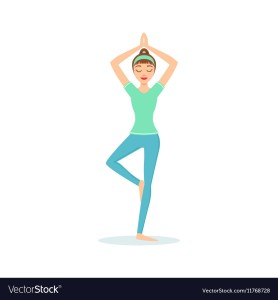 tree-vriksasana-yoga-pose-demonstrated-by-the-girl-vector-11768728